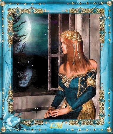 Анимация Девушка сидит у окна на фоне ночного неба и луны, LM