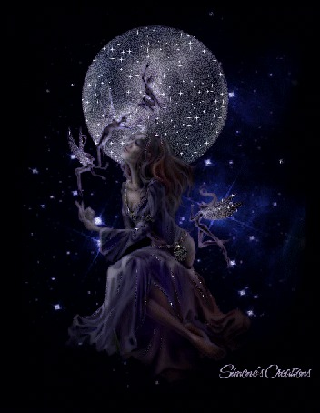Анимация Девушка на фоне ночного неба и луны с эльфийками, Simones Creations