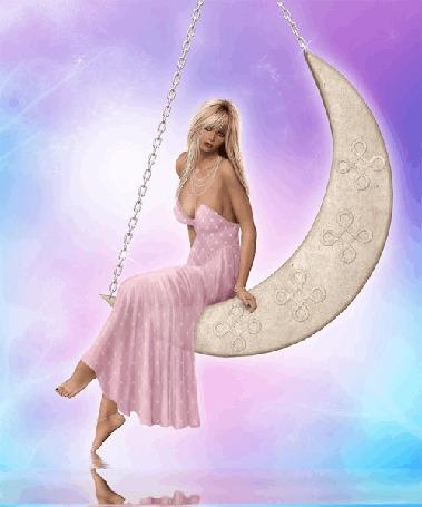 Анимация Девушка катается на качелях в форме луны с отражением в воде