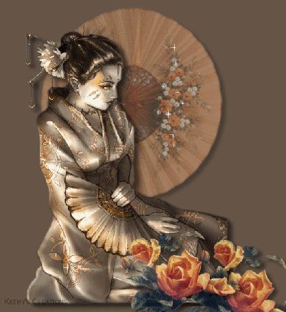 Анимация Девушка китаянка на фоне роз с веером в руках, Kathys Creations (© qalina), добавлено: 08.07.2015 17:20