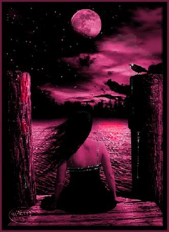 Анимация Девушка сидит на фоне ночного неба луны и вороны