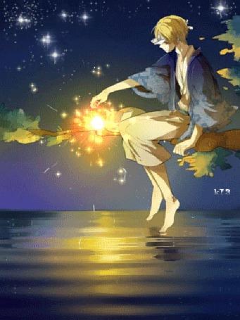 Анимация Natsume Takashi / Такаси Нацумэ и Nyanko-sensei / Нянко-сенсей из аниме Natsume's Book of Friends / Natsume Yuujinchou / Тетрадь дружбы Нацумэ (© chucha), добавлено: 08.07.2015 17:53