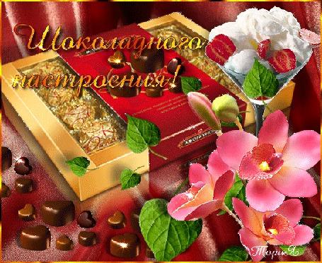 Анимация На столе лежат конфеты и мороженое в вазочке на фоне цветов (Шоколадного настроения), Тория (© qalina), добавлено: 09.07.2015 22:53
