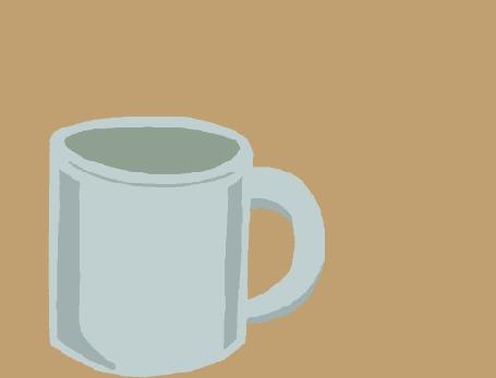Анимация Капля кофе запрыгивает в чашку