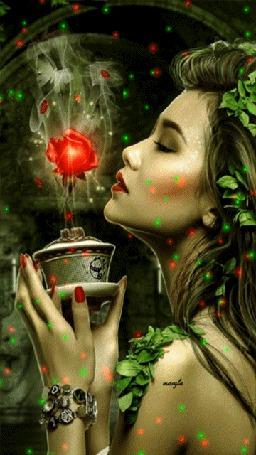 Анимация Девушка держит в руках волшебный цветок, ву Jessica Allain (© zmeiy), добавлено: 11.07.2015 08:28
