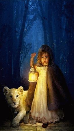 Анимация По сумеречному лесу, где обитают летучие мыши, идут девочка и львенок освещая фонарем себе дорогу