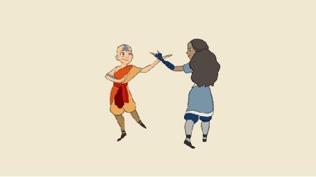 Анимация Aang / Аанг и Katara / Катара из мультсериала Avatar: The Last Airbender / Аватар: Легенда об Аанге (© Krista Zarubin), добавлено: 13.07.2015 11:37