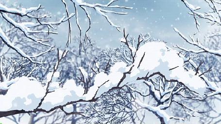 Анимация Падающий снег и заснеженные ветки (© Krista Zarubin), добавлено: 13.07.2015 11:47