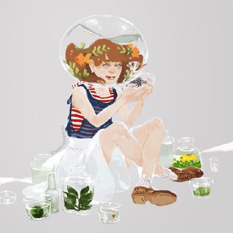 Анимация Девушка с аквариумом на голове, работа художницы Sparrows