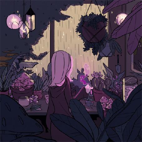 Анимация Девушка-волшебница в фантастической оранжерее готовит зелье, глядя на дождь за окном