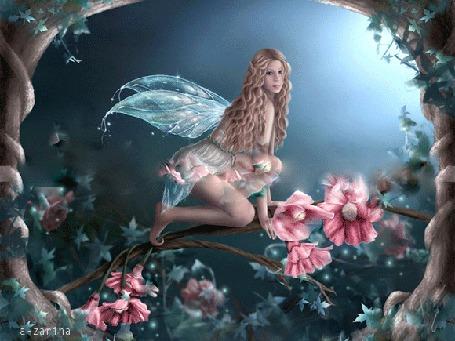 Анимация Девушка-фея сидит на цветущей ветке