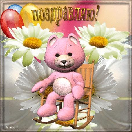 Анимация Розовый Мишка на фоне ромашек и шаров качается в кресле (Поздравляю!)