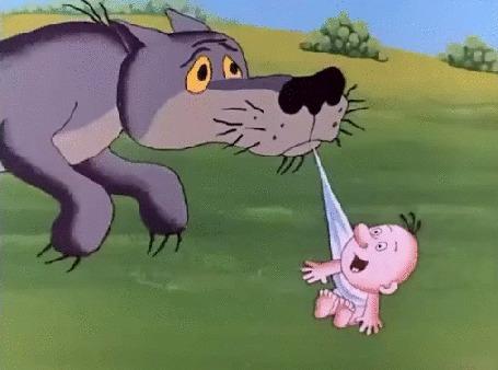 Анимация Карапуз весело выщипывает усы у крадущего его волка. Фрагмент мультфильма Жил был пес