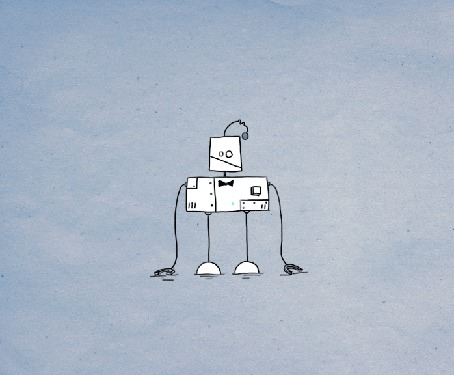 Анимация Танцующий робот на сером фоне
