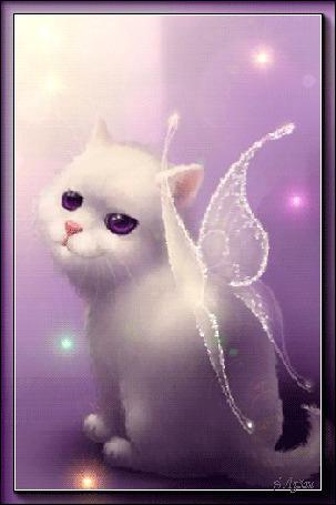 Анимация Белый котенок с мигающими глазами и с крылышками / Е, Лузан/ (© qalina), добавлено: 16.07.2015 19:55