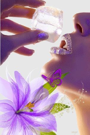 Анимация Гламурная девушка с льдом в руке на фоне цветка и бабочки (© qalina), добавлено: 16.07.2015 22:09