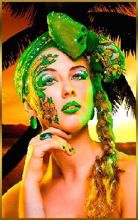 Анимация Гламурная девушка с бантом на голове на фоне пальмы (© qalina), добавлено: 16.07.2015 23:07