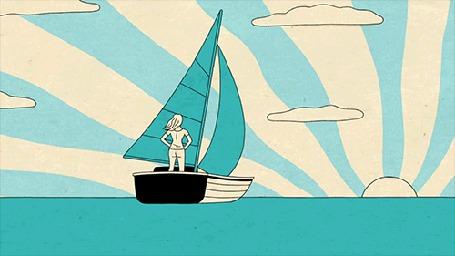 Анимация Девушка на паруснике плывет к солнцу (© zmeiy), добавлено: 17.07.2015 06:46
