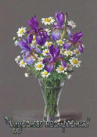Анимация Красивые цветы ромашек и ириса в вазе (Чудесного настроения!) (© qalina), добавлено: 18.07.2015 14:26
