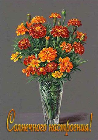Анимация Красивый букет цветов из календулы стоит в вазе (Солнечного настроения!) (© qalina), добавлено: 18.07.2015 14:45