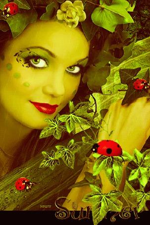 Анимация Красивая девушка на фоне растений с божьими коровками (Summer), Nioyf
