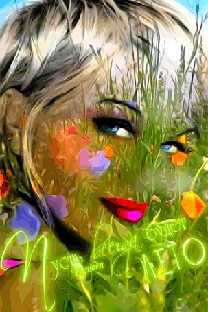 Анимация Силуэт девушки с голубыми глазами на фоне полянки и бабочек / Пусть всегда будет лето / Пантера
