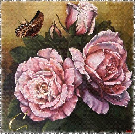 Анимация На розах сидит бабочка (Спасибо вам), Лейла (© qalina), добавлено: 20.07.2015 19:00