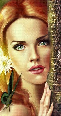 Анимация Девушка с цветком в волосах и бабочкой на плече прислонила голову к стволу дерева