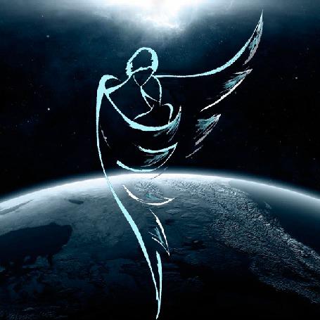 Анимация Ангел-хранитель закрывает девушку крылом