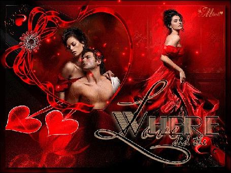 Анимация Девушка в темно - красном платье стоит спиной к влюбленной паре на фоне распускающейся розы (Where did the Love)