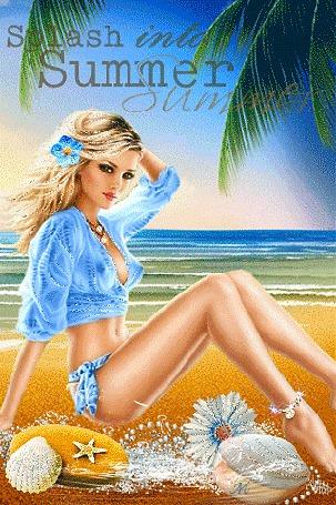 Анимация Девушка блондинка на фоне голубого моря (Splash into Summer) (© Miled), добавлено: 22.07.2015 11:23