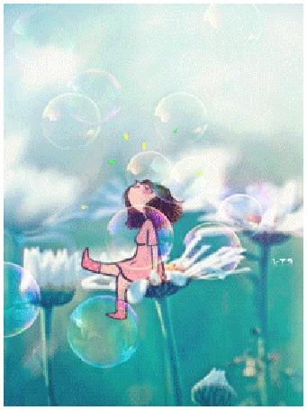Анимация Нарисованная девушка сидит на цветке ромашки