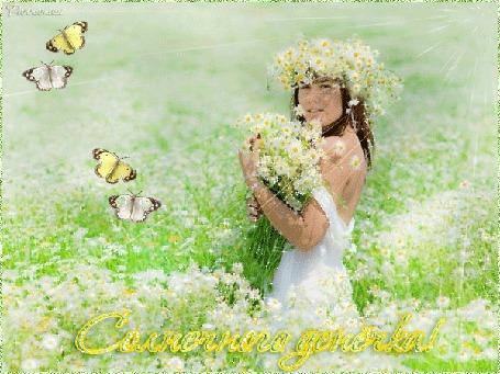 Анимация Девушка в белом сарафане в ромашковом царстве в солнечных лучах среди бабочек (Солнечного денечка) автор Pannamusik
