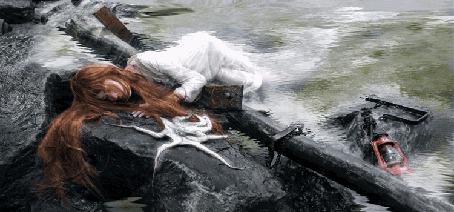 Анимация Девушка спасшаяся после кораблекрушения (© phlint), добавлено: 23.07.2015 10:43