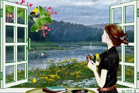 Анимация Девушка с горячей чашкой чая стоит у окна, за которым идет дождь