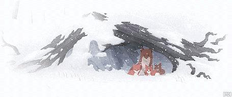 Анимация Лиса с лисятами спряталась в дупле (© Seona), добавлено: 24.07.2015 01:14