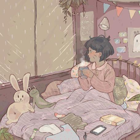 Анимация Девушка сидит с чашкой возле окна и смотрит на дождь