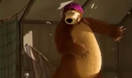 Анимация Миша забавляется прыжками на кровати. Фрагмент мультфильма Маша и Медведь - Нынче все наоборот