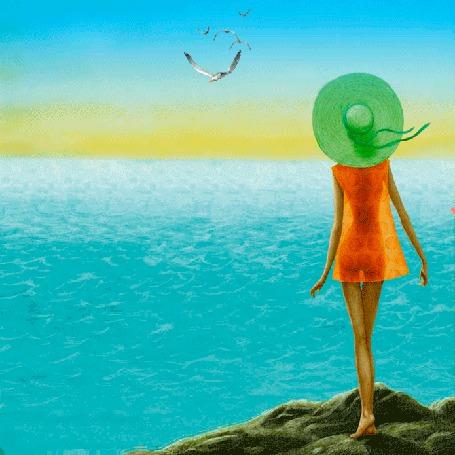 Анимация Девушка стоит на берегу моря, мимо нее снует бумажный красный кораблик (© Миропия_Мира), добавлено: 27.07.2015 21:33