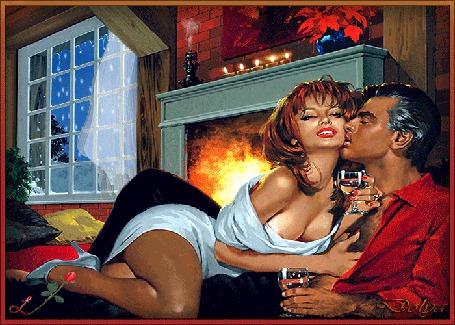 Анимация За окном зима, в доме, на полу у камина, лежат мужчина и девушка, держат в руках бокалы с шампанским, на камине стоят свечи, арома лампа и ваза с цветами