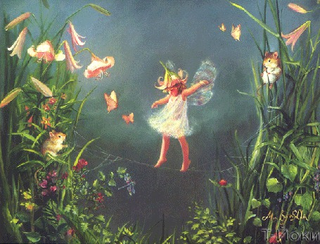 Анимация Маленькая эльфина переходит по ниточке паутины с листика на листик цветов лилии, рядом бабочки, насекомые и мышки, автор Т-ЙОКИ