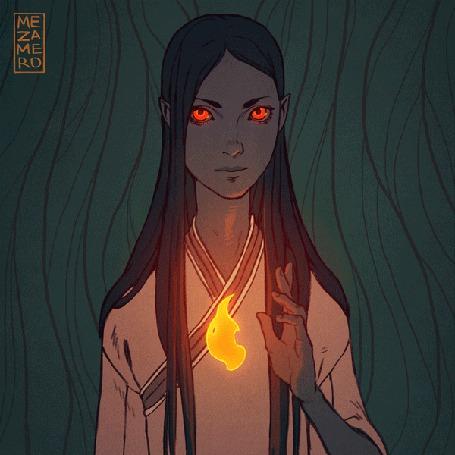 Анимация Красноглазая девушка и огонь, by mezamero (© Krista Zarubin), добавлено: 29.07.2015 11:56