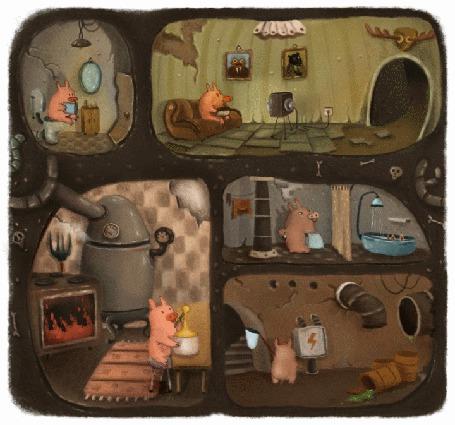 Анимация Свинки в доме занимаются своими делами (© Solist), добавлено: 29.07.2015 14:21