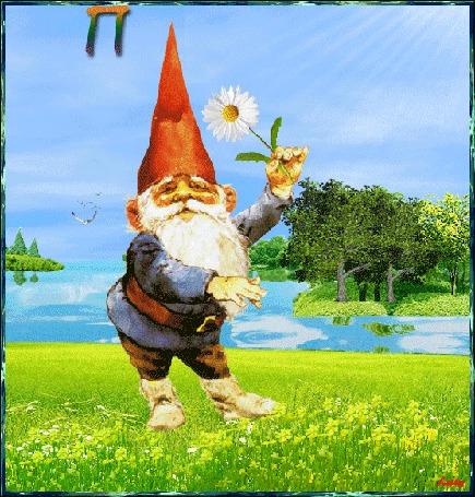 Анимация Гномик стоит на лужайке с ромашкой в руке на фоне море, небо, лучи солнца и чайки / Привет / Лейла/ (© qalina), добавлено: 01.08.2015 09:59