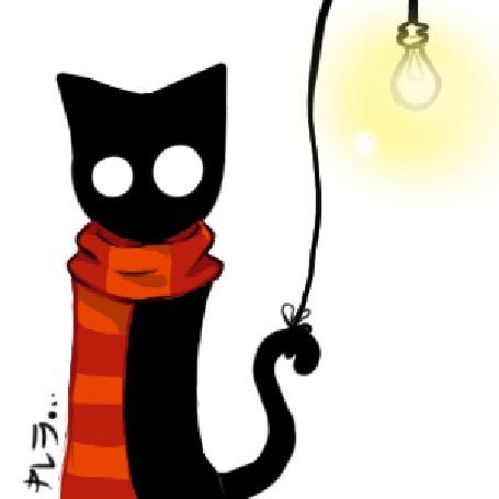 Анимация Кот тушит лампочку хвостом и в темноте остаются только глаза