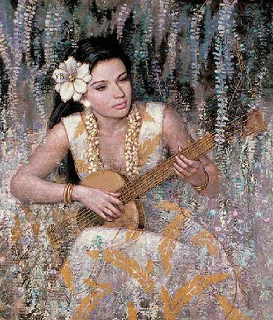 Анимация Девушка на фоне цветов с украшениями играет на гитаре (© qalina), добавлено: 02.08.2015 12:31