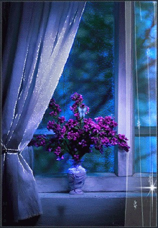 Анимация На окне стоит ваза с цветами, над ними летает бабочка (© Ловетта), добавлено: 02.08.2015 15:10