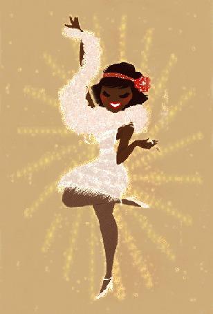 Анимация Негритянка в белом платье с цветком на голове танцует (© qalina), добавлено: 02.08.2015 16:18