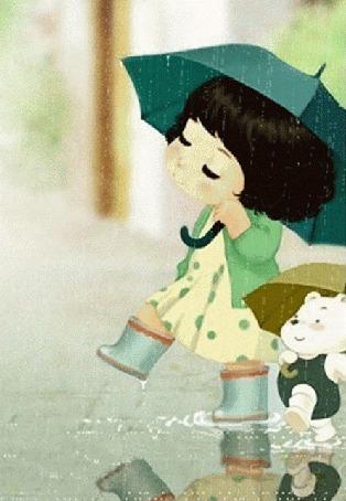 Анимация Малышка и медвежонок гуляют под дождем по лужам