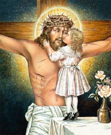 Анимация Маленькая девочка целует распятого на кресте ИИСУСА ХРИСТА
